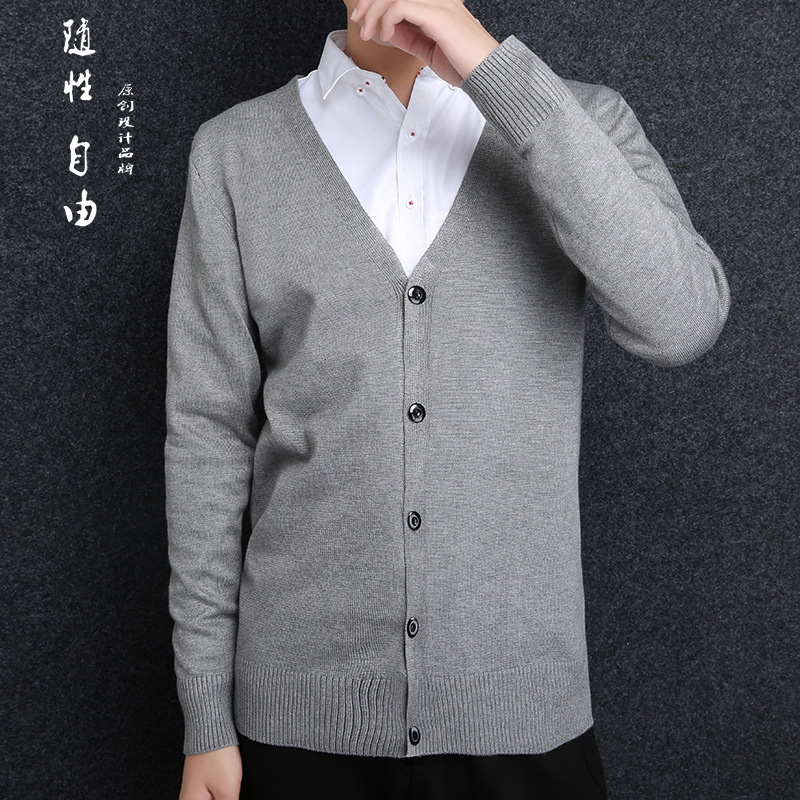2018 Autumn And Winter Pure Color Men's Sweater Korean V Neck Long Sleeves Casual Sweater Men's Sweater