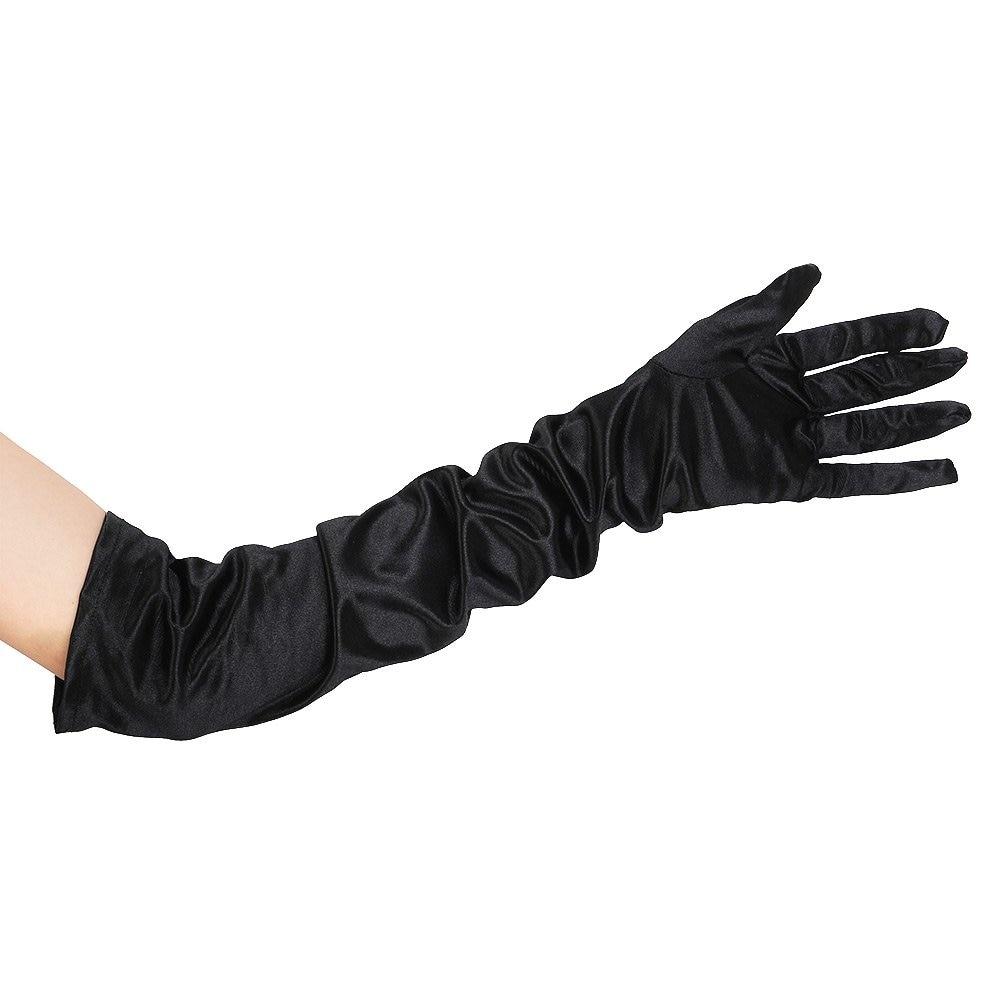SZ-LGFM-21 Inch Women Arm Long Satin Elbow Gloves For Evening Wedding Fancy Dress Costume - Black