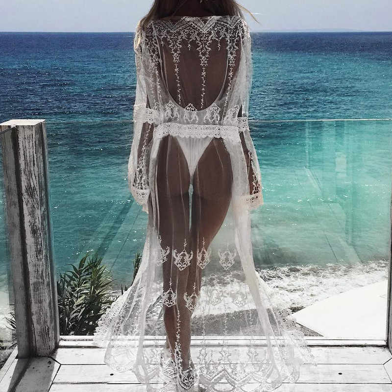 2019 Hot Lace Haak Bikini Beachwear Cover up Vrouwen Sexy See Through White Hollow Half Sleeve Badpak Casual Losse