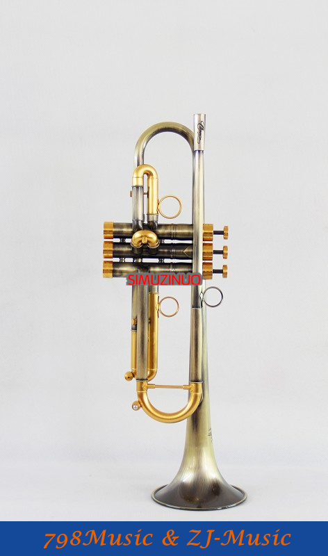 New Professional Antique Finish Trumpet B-flat Monel Valves With Case Mouth