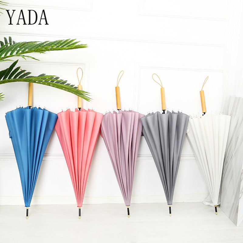 YADA New 16K High Quality <font><b>Big</b></font> Parasol Long Wood Handle Automatic <font><b>Umbrella</b></font> For Women Men UV Sun Rain <font><b>Golf</b></font> Straight <font><b>Umbrella</b></font> YS405 image