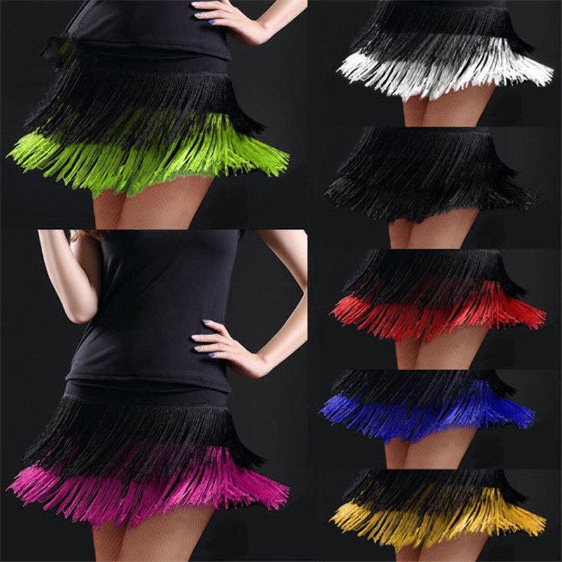 2019 Hot Sale Adult Latin Dance Skirt Women's Double Tassel Tango Yoga Ballroom Cha Cha Latin Dance Dress Fringed Skirt Contains