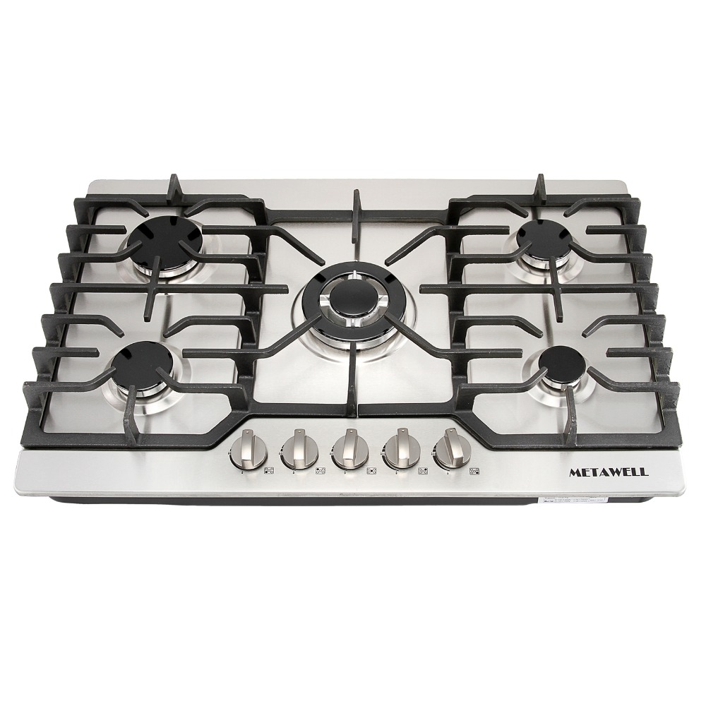 "5 Burner Gas Cooktops: US Warehouse Luxury 30"" Stainless Steel 5 Burner Built In"