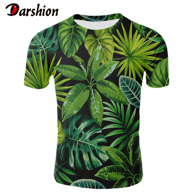 2019 3D Leaf Plant T-Shirt Men's Short Sleeve Round Collar Animal Zebra Men's Ladies Tops Tees Green Leaf Flowers Casual TShirts