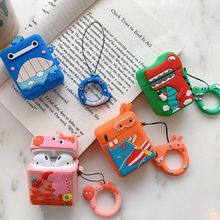 Cute Animal Pattern Soft Silicone Protective Cover Shockproof Case Skin Shell With Lanyard for Airpods 1/2 Charging Box