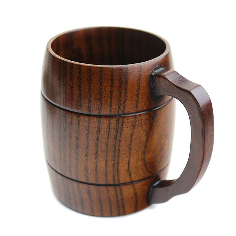 360ml Stylish Wooden Beer Mug Big Wood Tea Coffee Mug with Handle Natural Wooden Cups & Mugs Home Office Bar Party Drinking Cups (3)