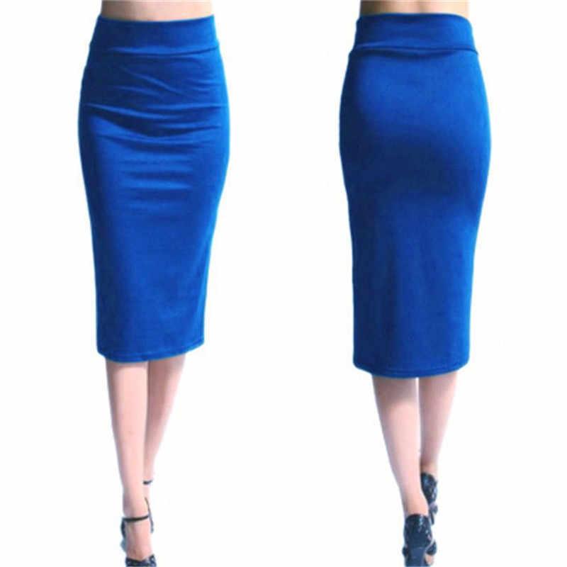 2019 חדש חצאיות נשים מיני Bodycon חצאית משרד נשים Slim באורך הברך גבוהה מותן למתוח סקסי עיפרון חצאיות נהיגה לראשונה חצאית Femme