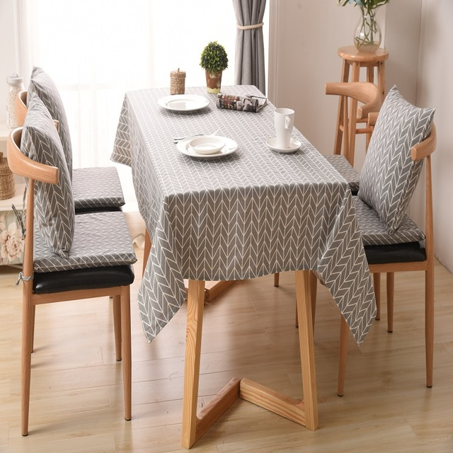 Moden Linen Table Cloth Country Style Plaid Print Multifunctional Rectangle Cover Tablecloth Home Kitchen Decoration