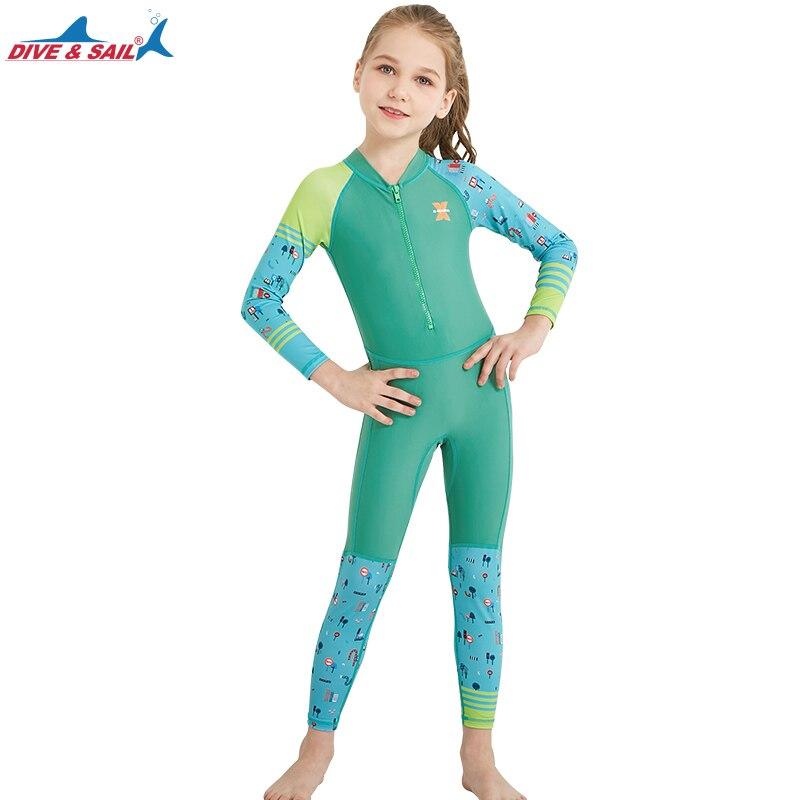 Kids Boys Wetsuit One Piece Long Sleeve Swimsuit Sun Protection UV Surf Suit