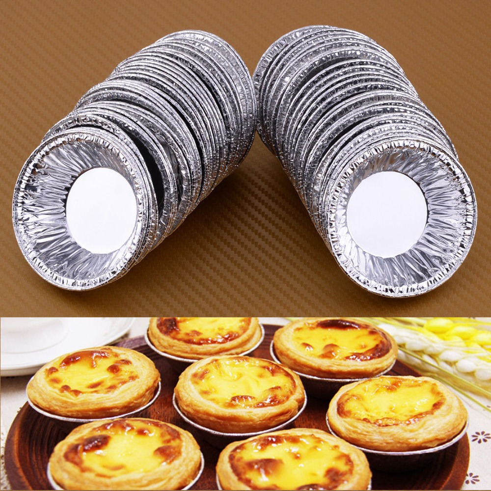 50 Disposable Aluminum Foil Baking Cookie Muffin Cupcake