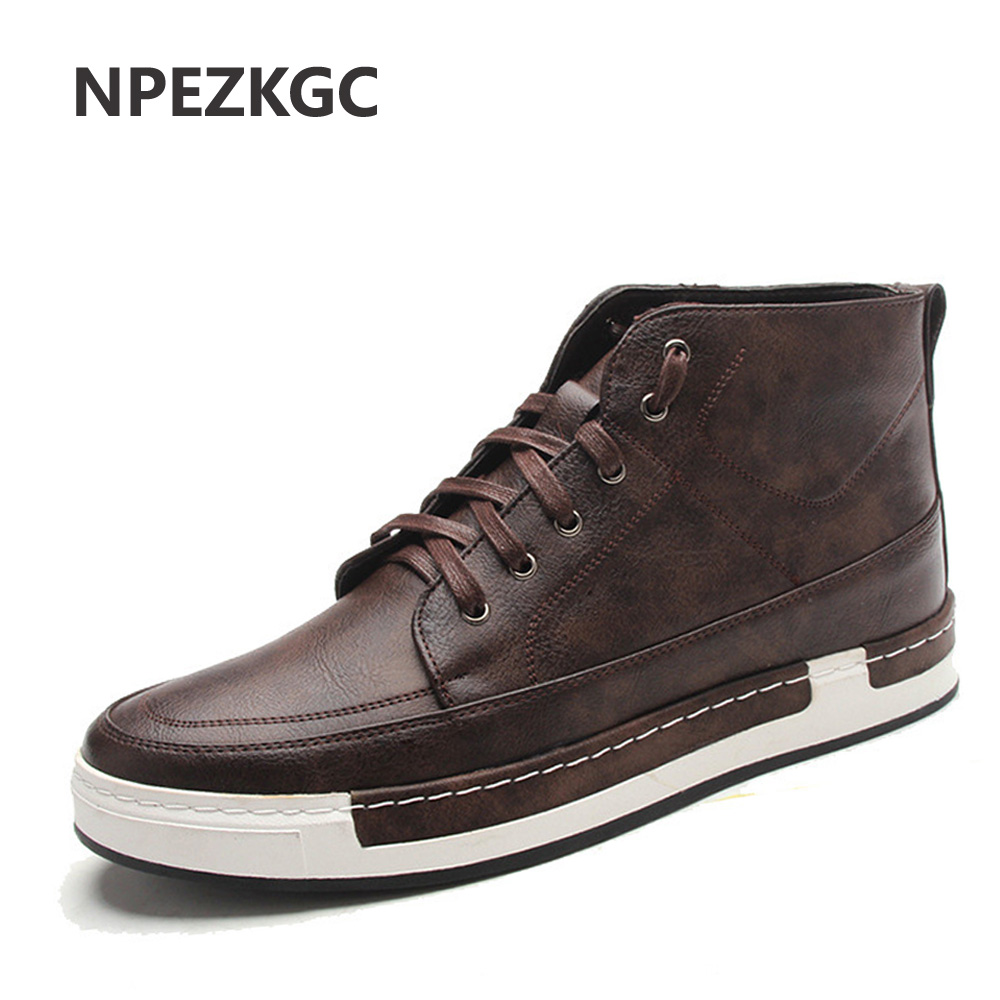 NPEZKGC PU Leather Men Boots,Fashion Autumn Winter Casual men shoes Fur Warm Ankle Boots For Men xiaguocai new arrival real leather casual shoes men boots with fur warm men winter shoes fashion lace up flats ankle boots h599