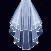 High Quality New 15M Veils Tulle Ribbon Edge Comb Wedding Veil Bridal Accessory Wholesale Free Shipping