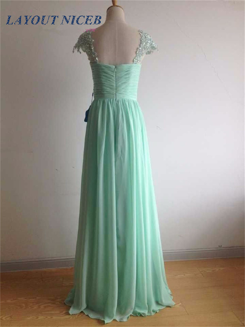 2018 ElegantL lace Appliques Beaded Cap Sleeves Mint Green Chiffon Long   Dress   New Party Prom Gowns   Bridesmaid     Dresses   In Stock