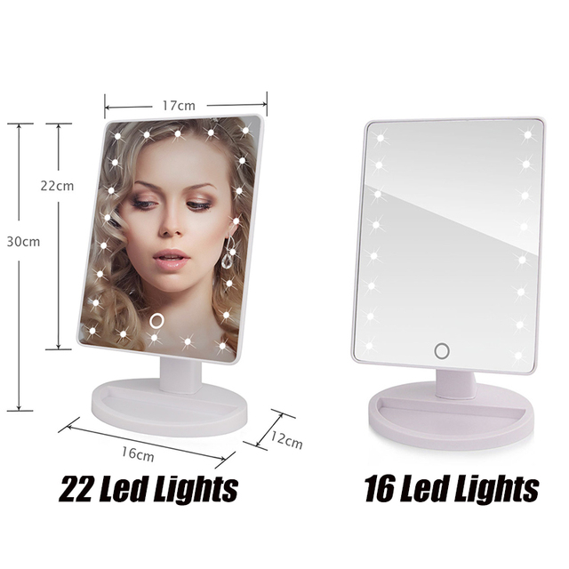22 LED Lights Touch Screen Makeup Mirror Dropshipping Discounted Price 1X 10X Bright Adjustable USB Or Batteries Use 16 Lights 1