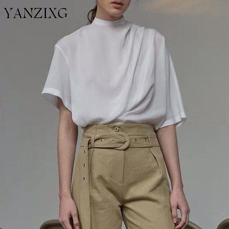 Femmes Blouses col montant à manches courtes femmes hauts irrégulier plissé blanc femmes chemises asymétrique chemise blanche Z082