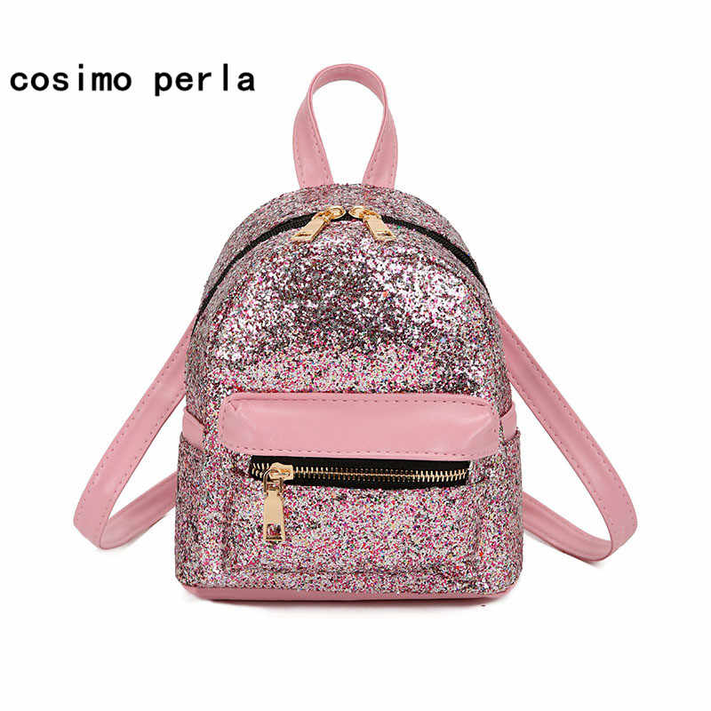 e4ba2d9ec Cute Korean Mini Backpacks for Little Girls PU Leather Fashion Women Daypack  Sequins Glitter Bling Shiny