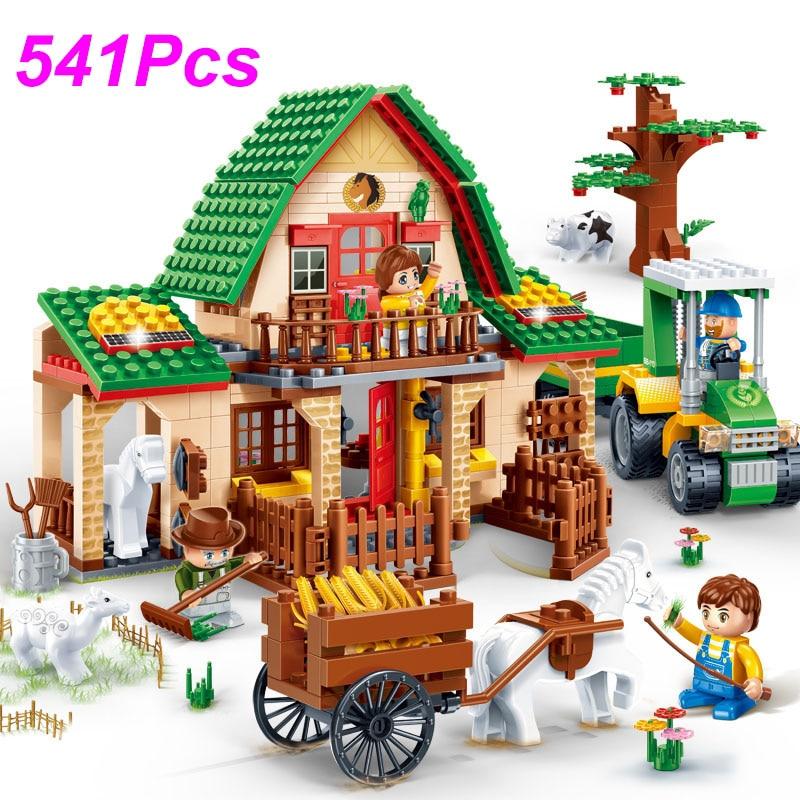 541Pcs Countryside Happy Farm House Bricks Toys Building Blocks Model 8579 Compatible Legoings Farmer Educational Toy Kids Gift