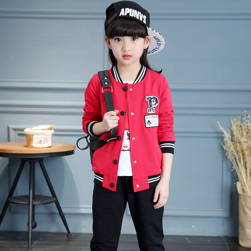 Pattern Autumn Clothing Girl Time Motion Dress Child Long Sleeve Trousers Baseball Serve Three Pieces Suit Hot Kids Clothing summer child suit new pattern girl korean salopettes twinset child fashion suit 2 pieces kids clothing sets suits
