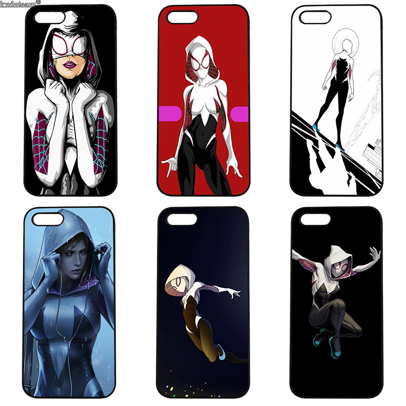 Cell Phone Cases Comics Spider Gwen for iphone 8 7 6 6S Plus X 5S 5C 5 SE 4 4S iPod Touch 4 5 6 Shell Hard PC Anti-knock Cover