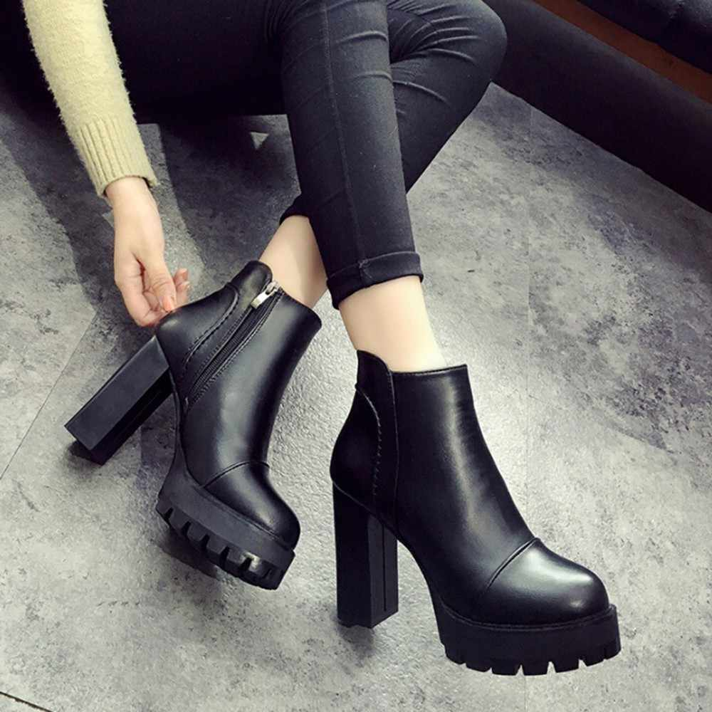 42043a819d82 Women s Side Zipper Shoes Leather Boots Square High Heel Ankle Boots  TXD