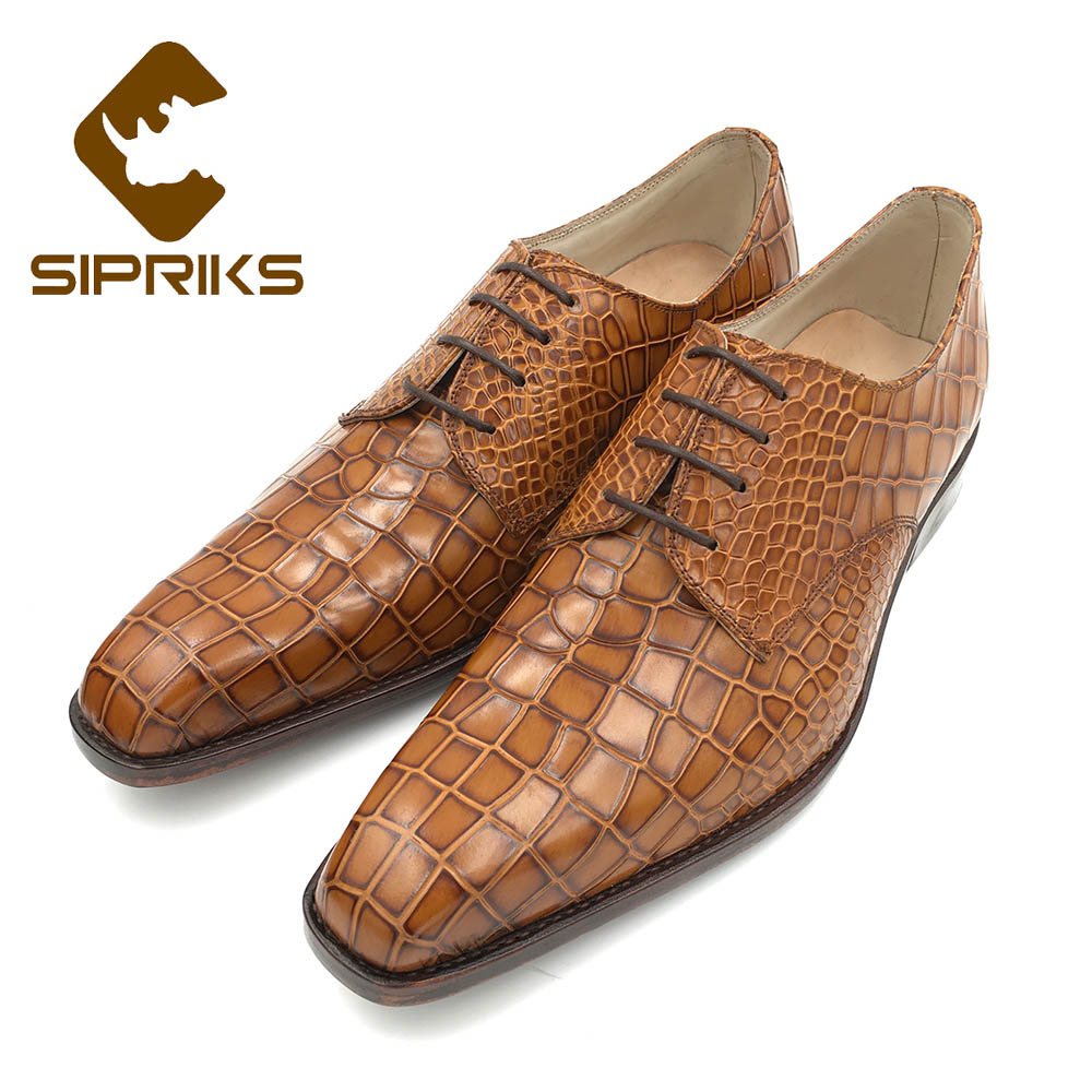 Shoes Earnest Sipriks Luxury Imported Black Crocodile Skin Dress Shoes Mens Italian Handmade Goodyear Welted Shoes Leather Outsole With Rubber Men's Shoes