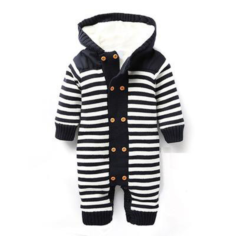Baby Rompers Autumn Winter Style Thick Warm Baby Costume 2018 New Hooded Striped Newborn Boys Girls Jumpsuits Infant Clothing cotton baby rompers set newborn clothes baby clothing boys girls cartoon jumpsuits long sleeve overalls coveralls autumn winter