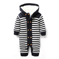 Baby Rompers Autumn Winter Style Thick Warm Baby Costume 2018 New Hooded Striped Newborn Boys Girls