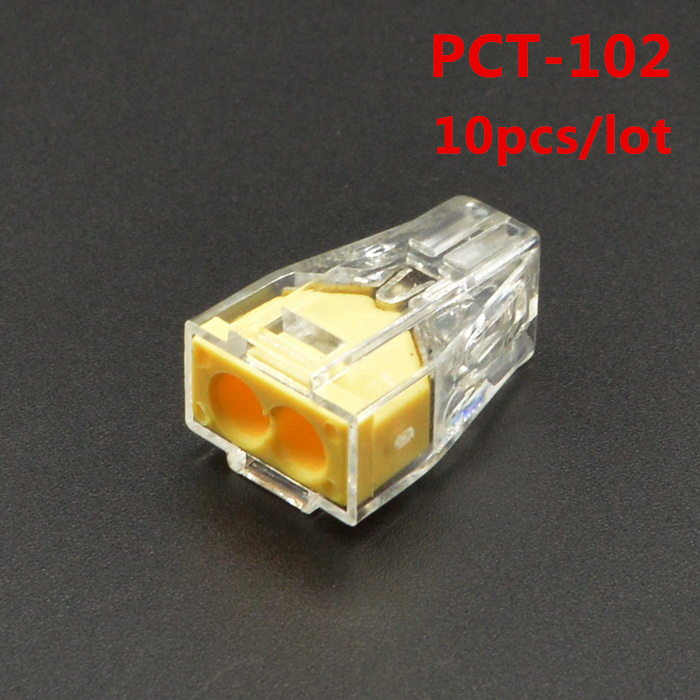 10pcs PCT-102 PCT102 WAGO 773-102 Push wire wiring connector For Junction box 2 pin conductor terminal block Hot