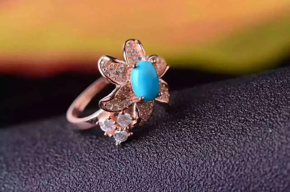 Natural green turquoise Ring Natural gemstone Ring S925 sterling silver trendy Starfish star for women's party Jewelry trendy fuax turquoise carved rounded rechtangle ring