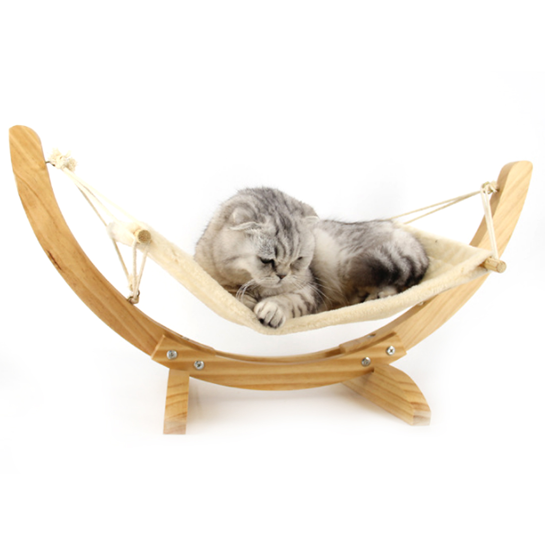 PETFORU Cozy Plush Wooden Frame Cat Hammock Hanging Beds