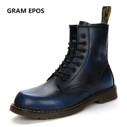 GRAM EPOS New Unisex Cowhide Leather Spring Autumn winter Warm Plush Boots High Top Martin Motorcycle Botas Couple snow Boots