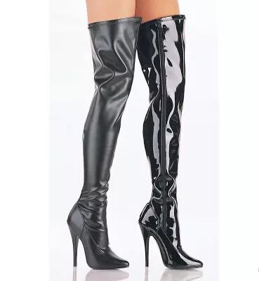 Women super long thigh boots! Ladies black pointed toe high heel over-the-knee long boots Fashion solid thin heel long boots white high heel knee high long boots for woman ladies solid super high chunky heel half boots round toe fashion boots dress shoe