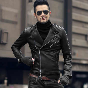 Winter men motorcycle bikers faux leather jacket short slim metrosexual men knight black fashion leather suit jacket coat F7091 - DISCOUNT ITEM  45% OFF All Category