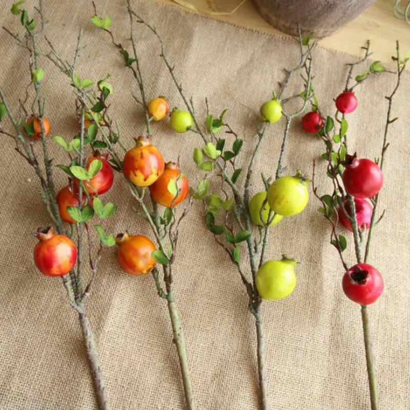 Rangkaian Bunga Buatan Delima Buah Daun Cabang Busa Buatan Buah Delima untuk Ruang Tamu Kamar Tidur Dekorasi