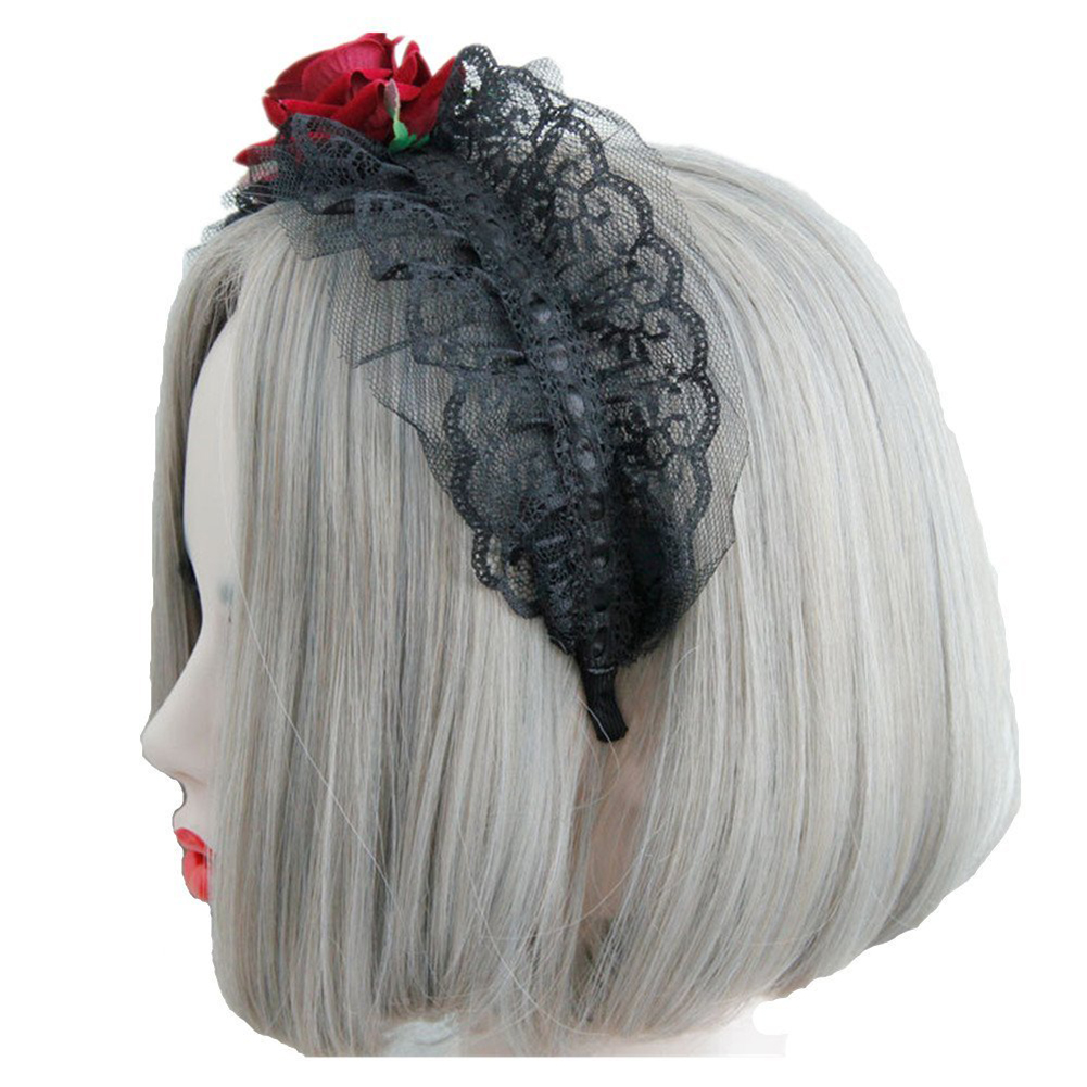 gothic style servant girl jewelry red rose headband hair band festival christmas decorations redrose in hair accessories from womens clothing