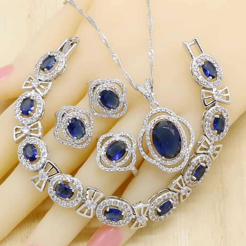 Royal Blue Semi - precious ผู้หญิง 925
