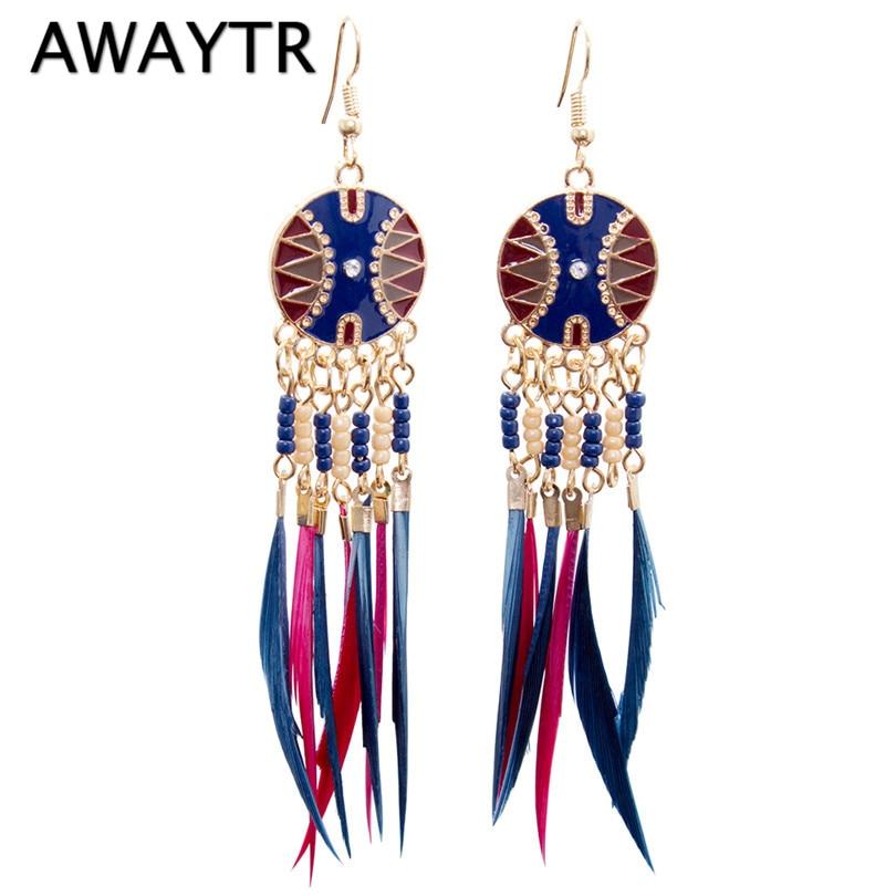AWAYTR Indian Jewelry Boho Earrings Colorful Enamel Beads Long Feather Brush Drop Ethnic Earrings New Brincos