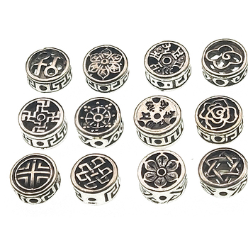 10pc 12x7mm Tibetan Silver Round Flat Spacer Beads Loose Buddha Beads for Jewelry Making Bracelet Accessories DIY Handmade Z1038 handmade 925 silver om beads jewelry findings tibetan om mani padme hum words beads om mantra beads tibetan jewelry beads