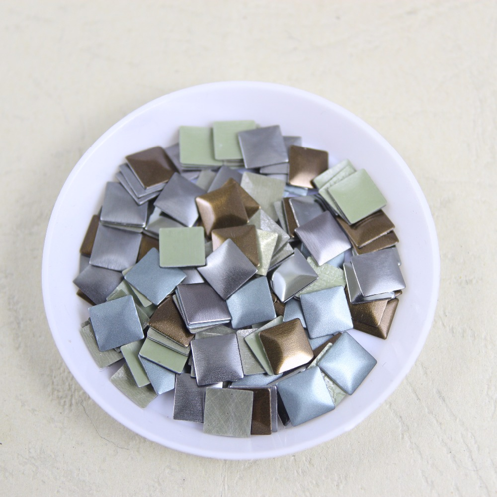 288 pcs/lot 7mm*7mm square iron-on hotfix aluminum metalic with adhesive Hot drilling DIY clothes/garment accessories