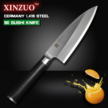 XINZUO 7 inch deba knife with Scabbard Germany steel sashimi knife kitchen knives One-sided chef knife Ebony handle free shiping
