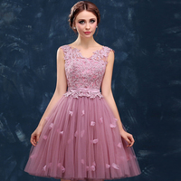 Luxury V Neck Tank Above Knee Bridesmaid Gown Lace A Line Short Prom Dresses for Women