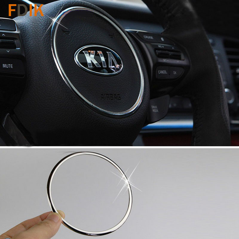 Stainless Mirror Chrome Interior Steering Wheel Circle Ring Cover Trim for Kia K5 Optima 2016 2017 image