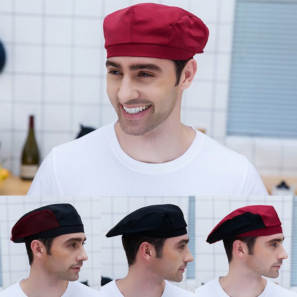 High QualityChef Hats Cafe Bar Waiter Beret Restaurant Kitchen Workwear Baking Caps Men Women Breathable Forward Caps Chef Hats