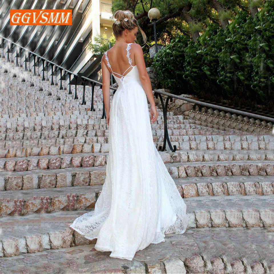 יוקרה בוהמי שנהב תחרה חתונה שמלת 2019 ארוך חתונת שמלות צווארון V ללא משענת BOHO כפרי חוף נשים המפלגה כלה שמלות חדשה
