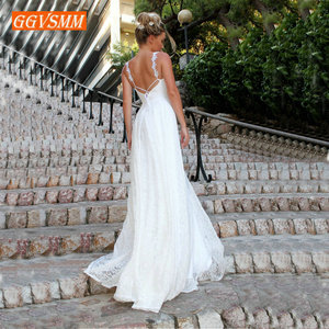 Image 2 - Lüks Bohemian fildişi dantel düğün elbisesi 2020 uzun gelinlik v yaka Backless BOHO kırsal plaj kadın parti gelin elbiseleri yeni