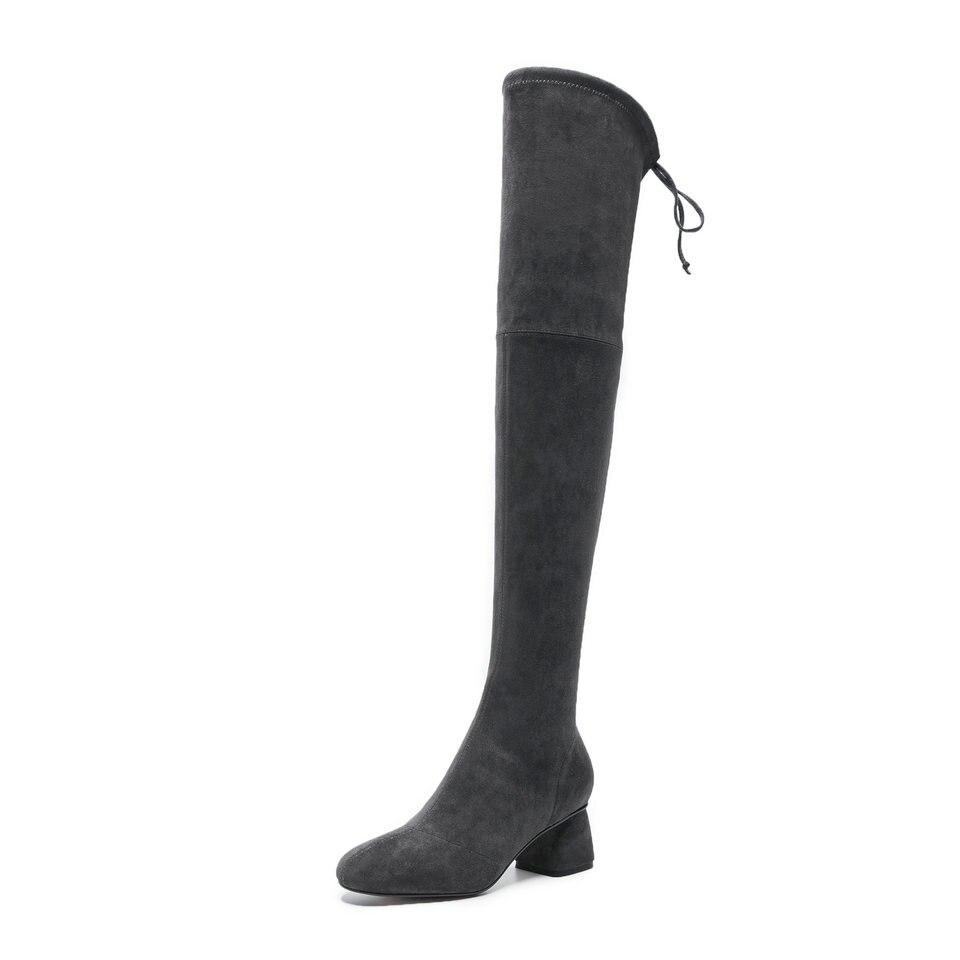 khaki Banda En Moto gris Zapatos Mujer Gris 40 Señoras Elástico Negro 34 Rodilla Sobre Botas Punta Eshtonshero Mujeres Tamaño Med La RB6Hzqq