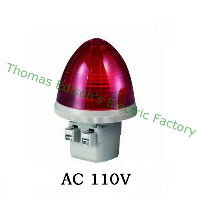 AC 110V 2 Screw Terminals Red LED Steady Industrial Signal Light Tower Lamp Light Tower Lamp S-TX-S