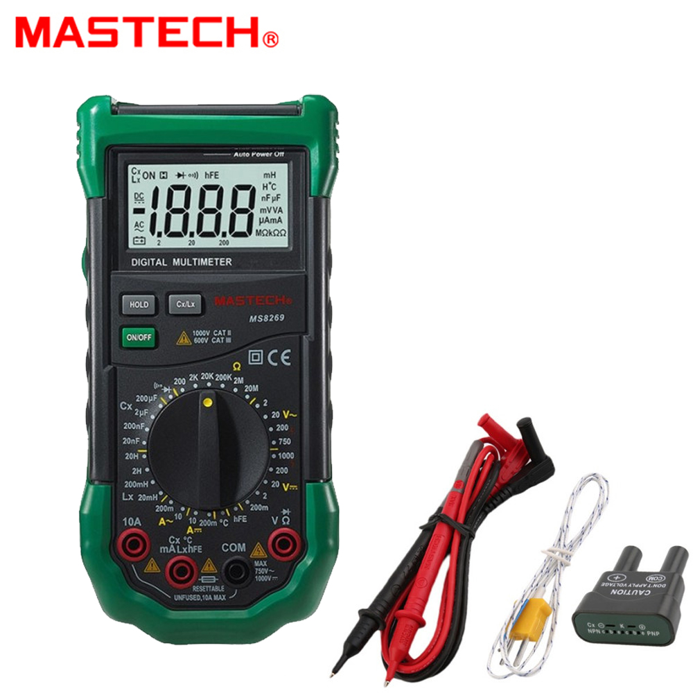 Mastech MS8269 3 1/2 Digital Multimeter LCR Meter AC DC Volt Amp Ohm Frequency Capacitance Transistor Test 1 pcs mastech ms8269 digital auto ranging multimeter dmm test capacitance frequency worldwide store