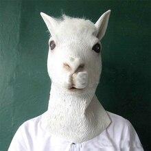 Halloween Mask Hooded Mud Horse Marvelon Alpaca Cos Animal Props Head Goat Toy