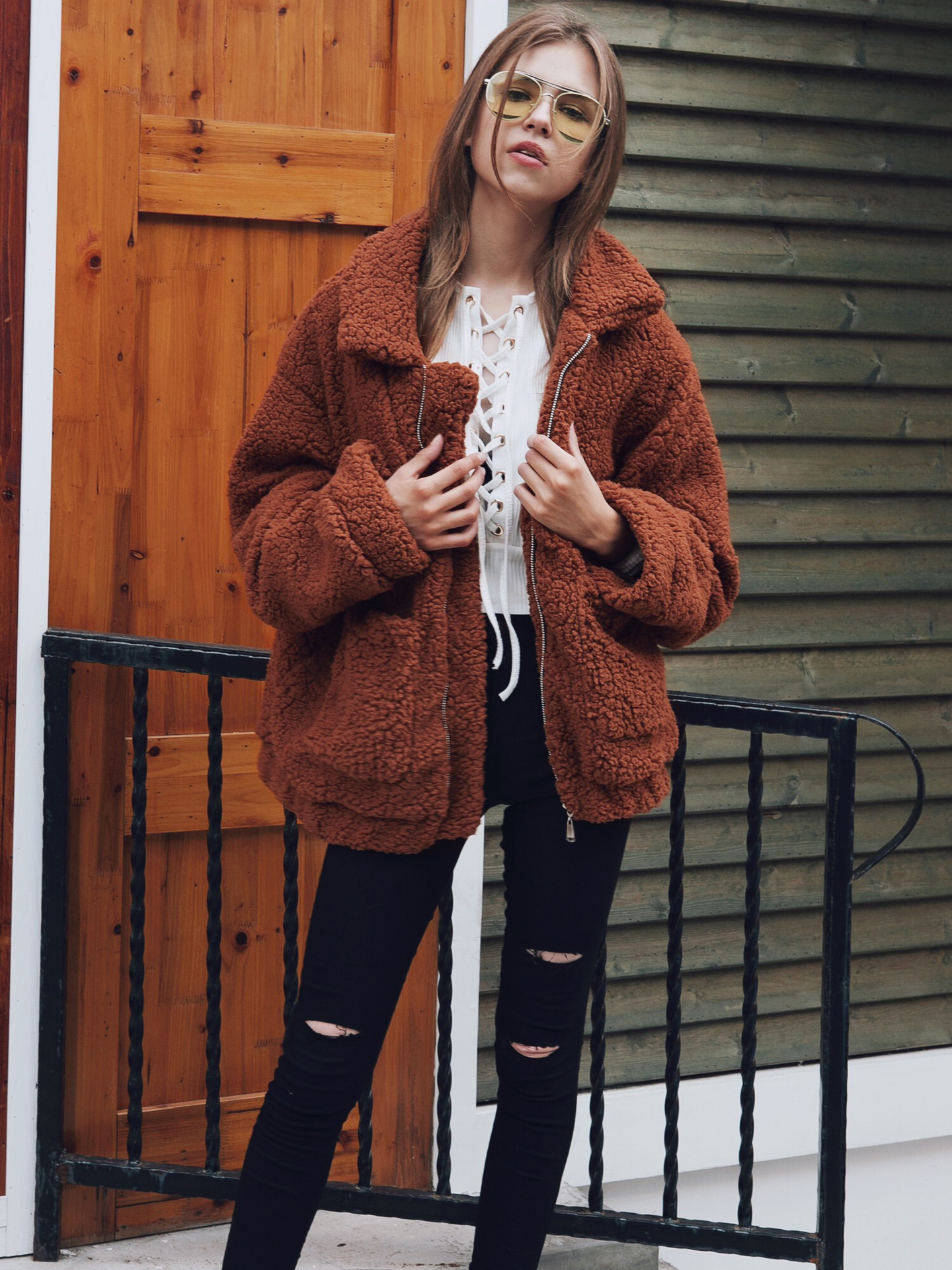 Autumn Winter Warm Coats Women 2019 Casual Basic Jackets Fur Wool Blends Female Plush Loose Red Coat Woman Plus Size Overcoat in Jackets from Women 39 s Clothing